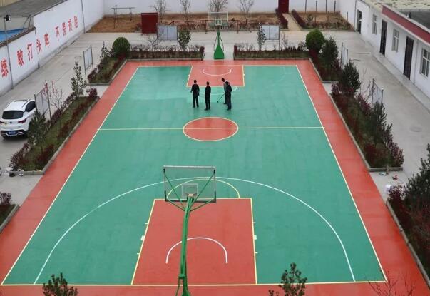 绛县消防大队硅PU篮球场竣工正式投入使用